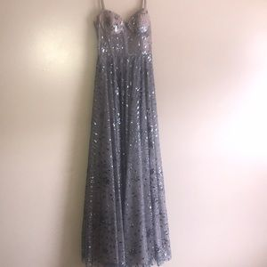 A micro blue and nude prom dress